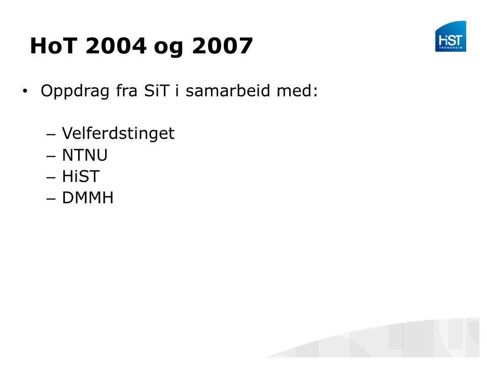 HoT 2004 og 2007 Oppdrag fra SiT i samarbeid med: – Velferdstinget – NTNU – HiST – DMMH