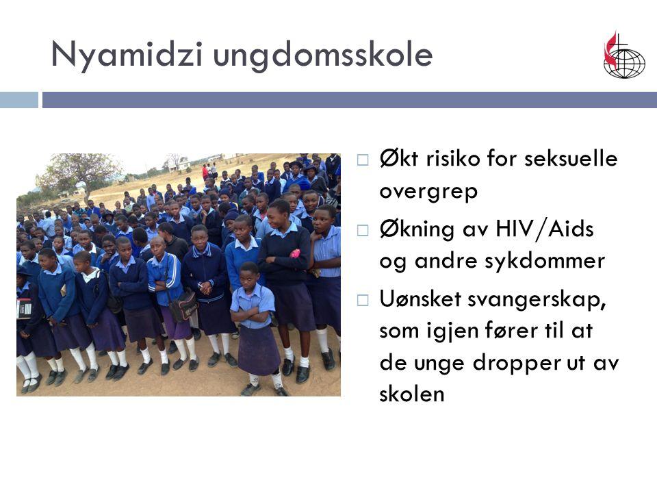  Økt risiko for seksuelle overgrep  Økning av HIV/Aids og andre sykdommer  Uønsket svangerskap, som igjen fører til at de unge dropper ut av skolen Nyamidzi ungdomsskole
