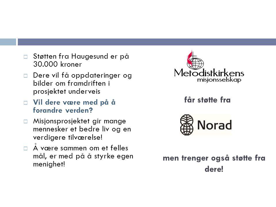 SStøtten fra Haugesund er på 30.000 kroner DDere vil få oppdateringer og bilder om framdriften i prosjektet underveis VVil dere være med på å forandre verden.