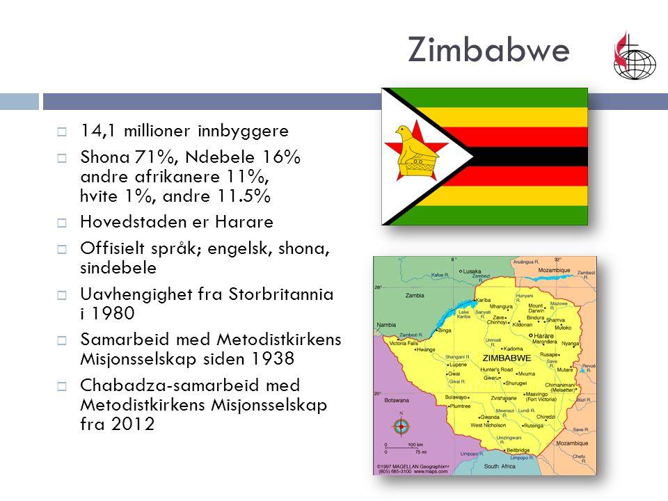 Zimbabwe  14,1 millioner innbyggere  Shona 71%, Ndebele 16% andre afrikanere 11%, hvite 1%, andre 11.5%  Hovedstaden er Harare  Offisielt språk; engelsk, shona, sindebele  Uavhengighet fra Storbritannia i 1980  Samarbeid med Metodistkirkens Misjonsselskap siden 1938  Chabadza-samarbeid med Metodistkirkens Misjonsselskap fra 2012