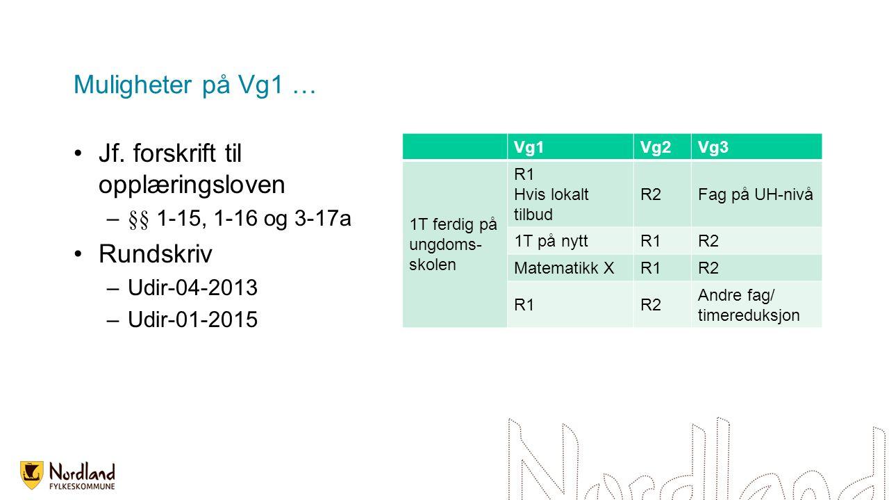 Muligheter på Vg1 … Jf. forskrift til opplæringsloven –§§ 1-15, 1-16 og 3-17a Rundskriv –Udir-04-2013 –Udir-01-2015 Vg1Vg2Vg3 1T ferdig på ungdoms- sk