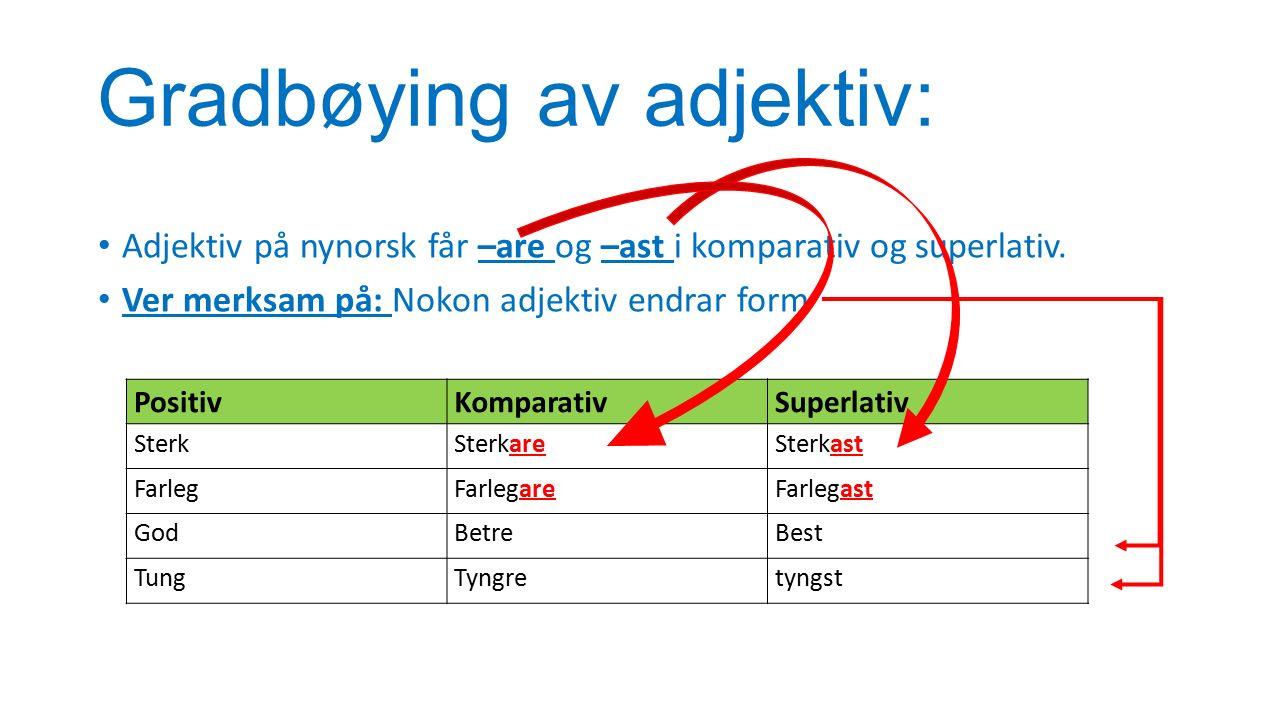 Gradbøying av adjektiv: Adjektiv på nynorsk får –are og –ast i komparativ og superlativ.