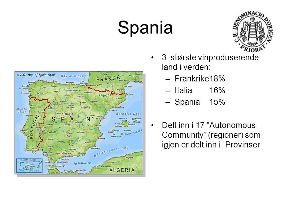 """Spania 3. største vinproduserende land i verden: –Frankrike18% –Italia 16% –Spania15% Delt inn i 17 """"Autonomous Community"""" (regioner) som igjen er del"""