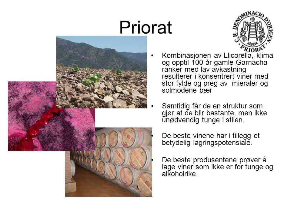 Priorat Kombinasjonen av Llicorella, klima og opptil 100 år gamle Garnacha ranker med lav avkastning resulterer i konsentrert viner med stor fylde og