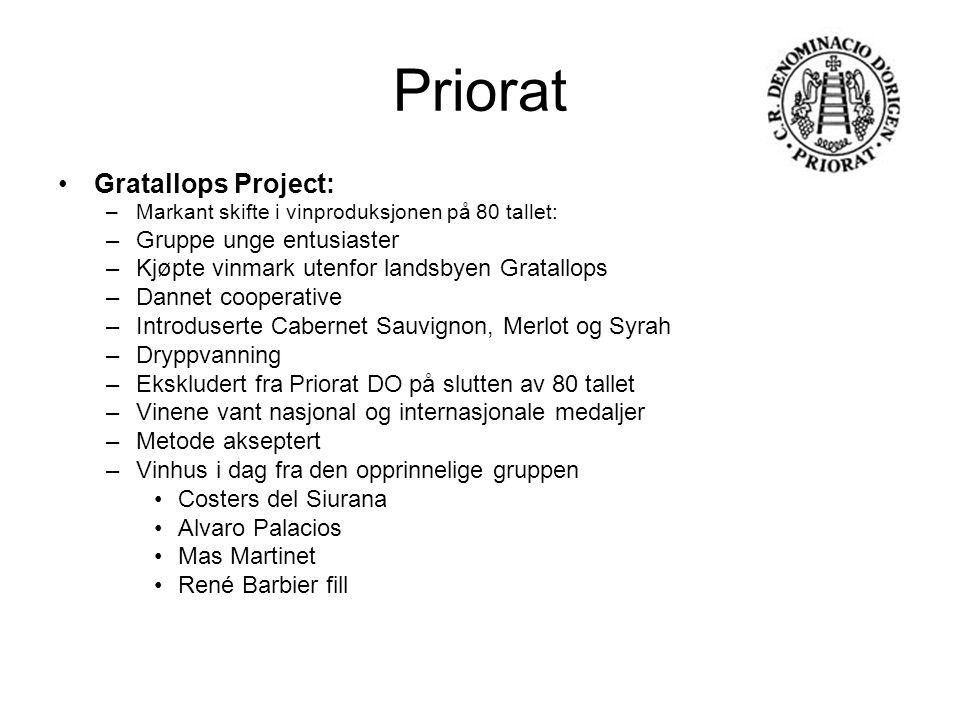 Priorat Gratallops Project: –Markant skifte i vinproduksjonen på 80 tallet: –Gruppe unge entusiaster –Kjøpte vinmark utenfor landsbyen Gratallops –Dan