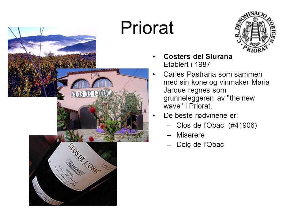 Priorat Costers del Siurana Etablert i 1987 Carles Pastrana som sammen med sin kone og vinmaker Maria Jarque regnes som grunneleggeren av