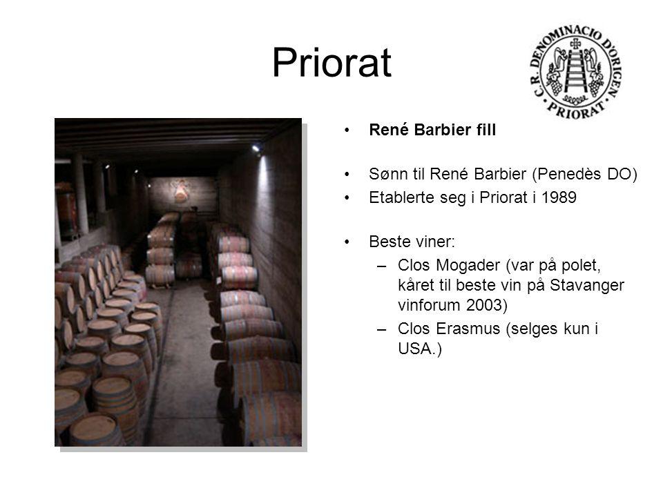Priorat René Barbier fill Sønn til René Barbier (Penedès DO) Etablerte seg i Priorat i 1989 Beste viner: –Clos Mogader (var på polet, kåret til beste