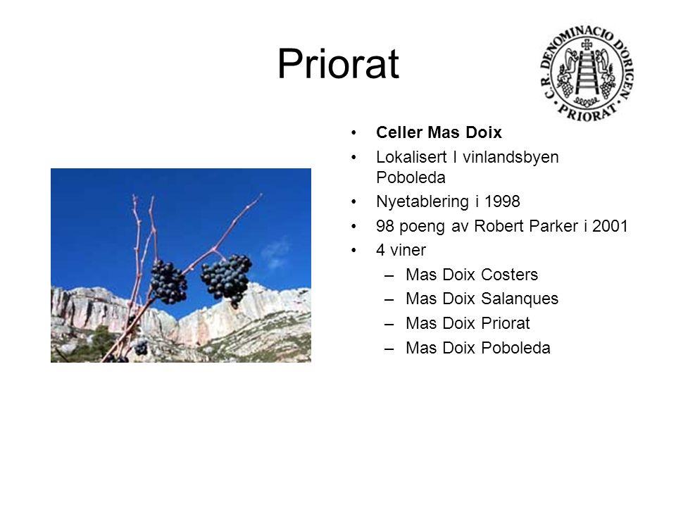 Priorat Celler Mas Doix Lokalisert I vinlandsbyen Poboleda Nyetablering i 1998 98 poeng av Robert Parker i 2001 4 viner –Mas Doix Costers –Mas Doix Sa