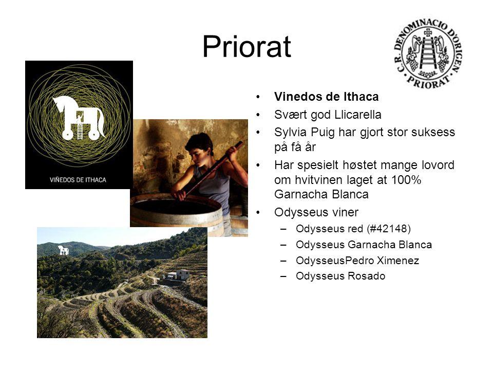 Priorat Vinedos de Ithaca Svært god Llicarella Sylvia Puig har gjort stor suksess på få år Har spesielt høstet mange lovord om hvitvinen laget at 100%