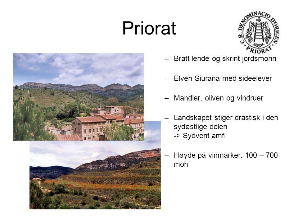 Priorat –Bratt lende og skrint jordsmonn –Elven Siurana med sideelever –Mandler, oliven og vindruer –Landskapet stiger drastisk i den sydøstlige delen