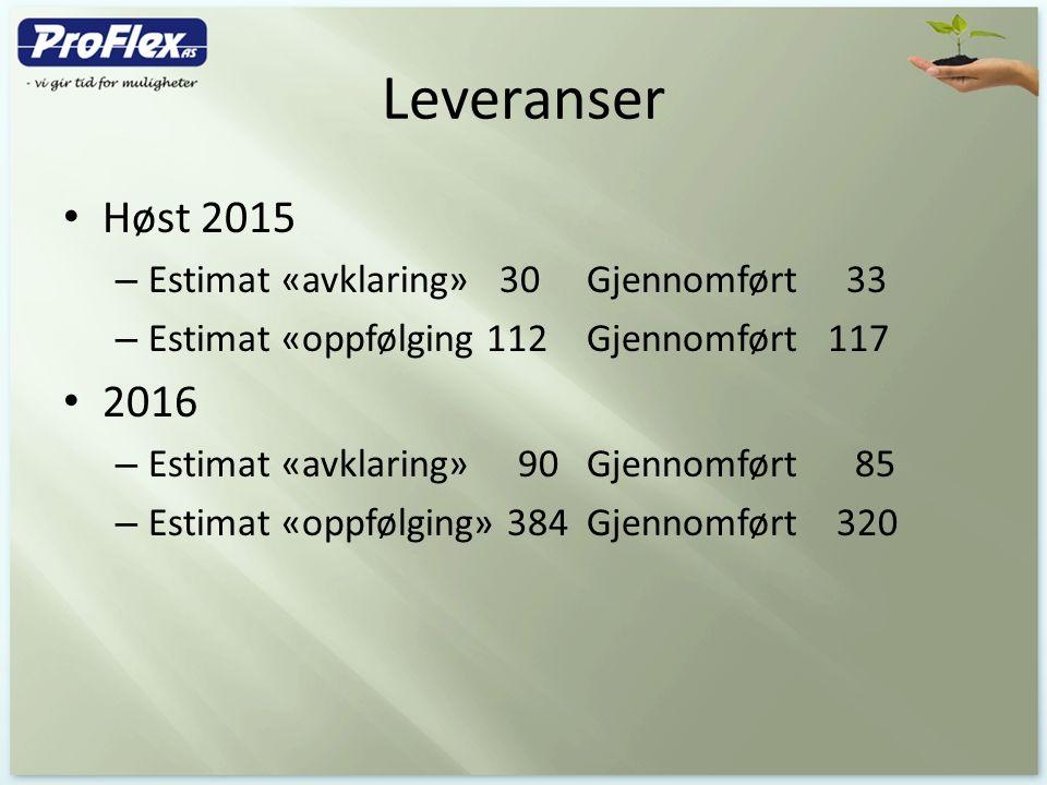 Leveranser Høst 2015 – Estimat «avklaring» 30 Gjennomført 33 – Estimat «oppfølging 112Gjennomført 117 2016 – Estimat «avklaring» 90Gjennomført 85 – Es