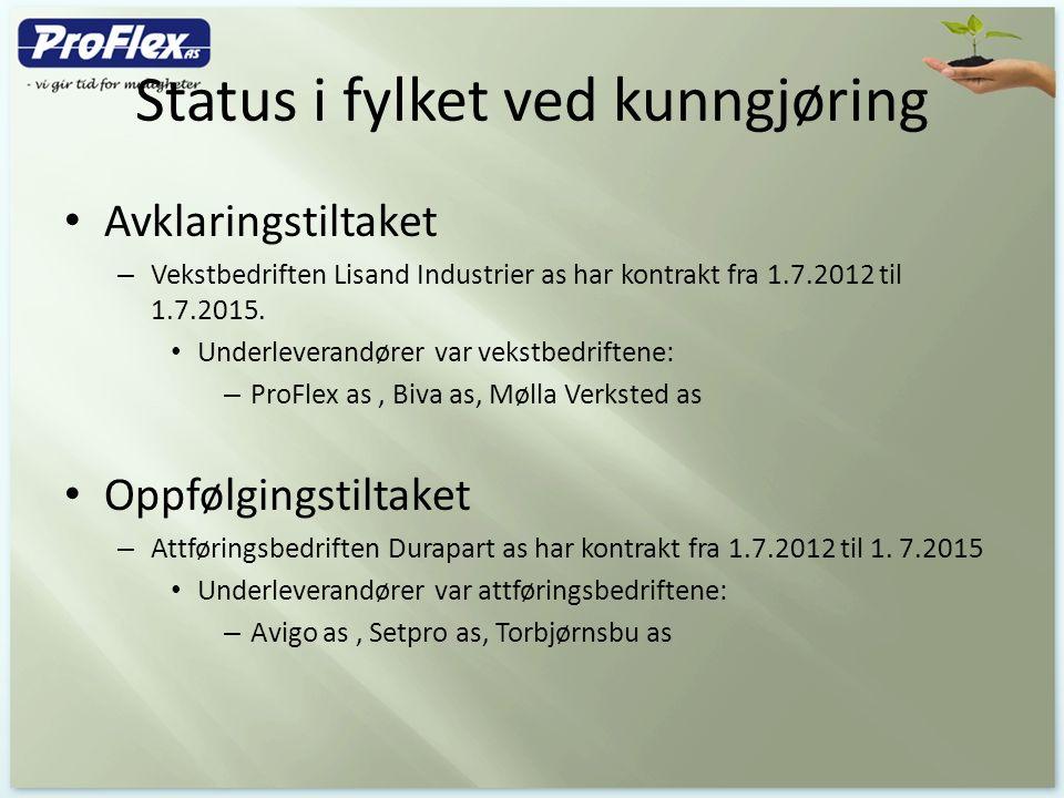 Status i fylket ved kunngjøring Avklaringstiltaket – Vekstbedriften Lisand Industrier as har kontrakt fra 1.7.2012 til 1.7.2015. Underleverandører var