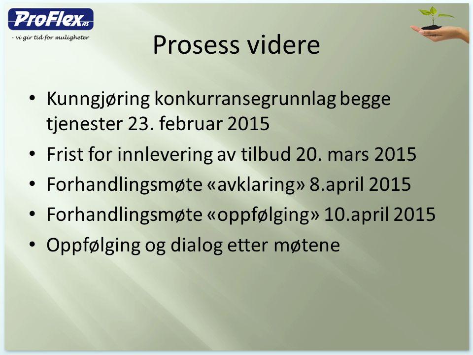 Prosess videre Kunngjøring konkurransegrunnlag begge tjenester 23. februar 2015 Frist for innlevering av tilbud 20. mars 2015 Forhandlingsmøte «avklar