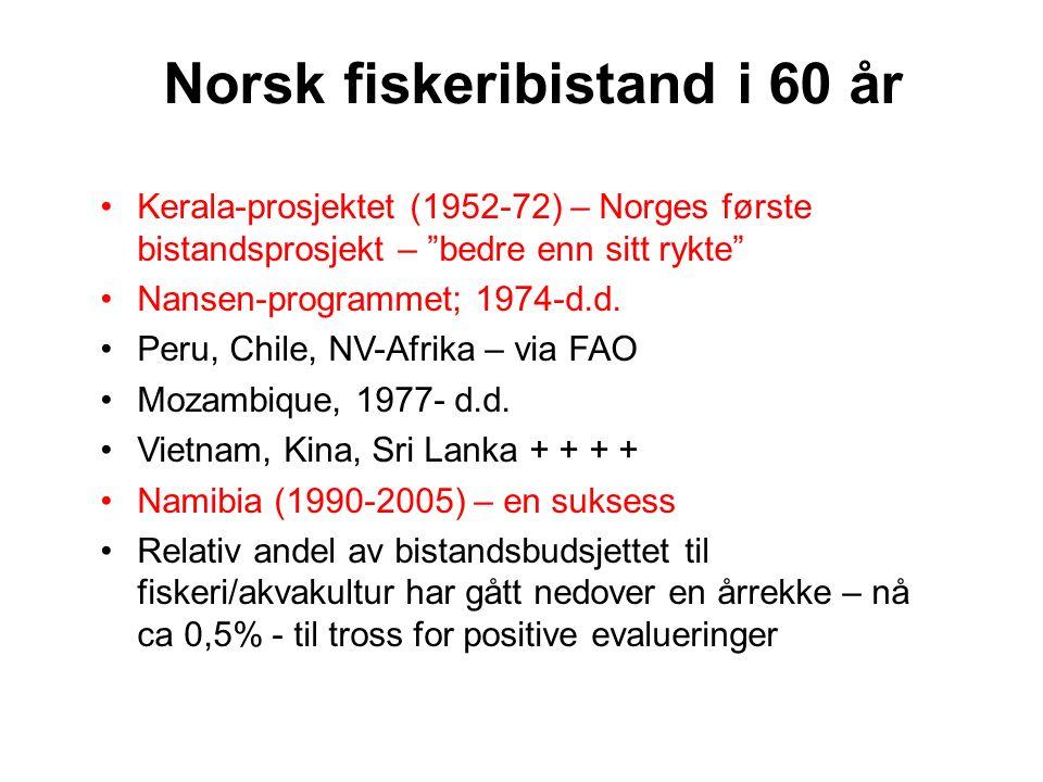 "Kerala-prosjektet (1952-72) – Norges første bistandsprosjekt – ""bedre enn sitt rykte"" Nansen-programmet; 1974-d.d. Peru, Chile, NV-Afrika – via FAO Mo"