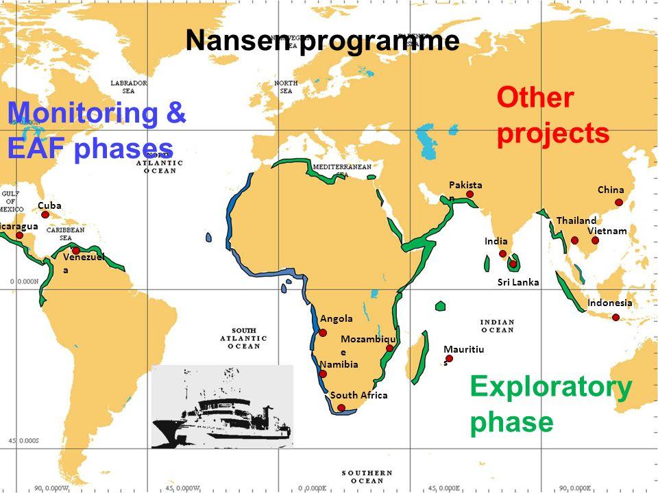 Nansen i et nøtteskall Programmet gjennomført kontinuerlig siden 1975 Utført tokt i mer enn 60 land (Afrika, Asia, Latin- Amerika) Samlet betydelige datamengder i ellers datafattige områder – som grunnlag for fiskeri- og havmiljøforvaltning Opplæring av lokale forskere i toktarbeid Institusjons- og kompetansebygging – inkludert 100+ master og doktorgrader