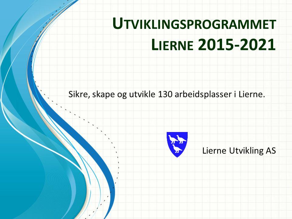 U TVIKLINGSPROGRAMMET L IERNE 2015-2021 Lierne Utvikling AS Sikre, skape og utvikle 130 arbeidsplasser i Lierne.