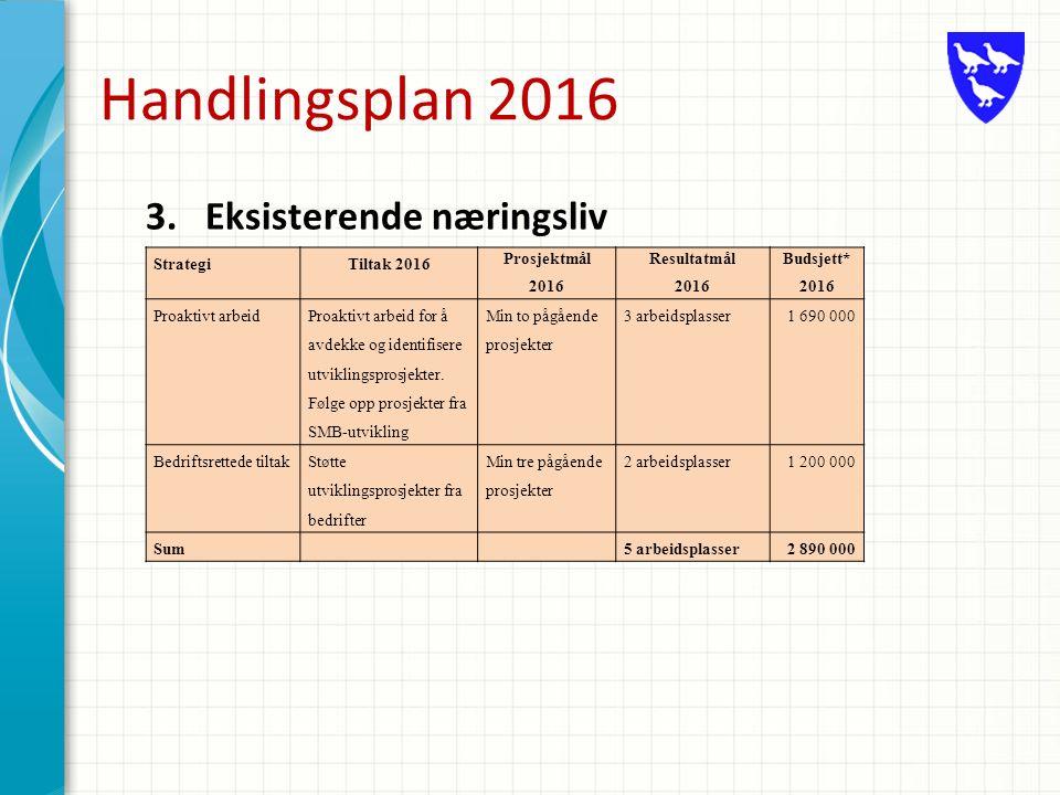 Handlingsplan 2016 3.Eksisterende næringsliv StrategiTiltak 2016 Prosjektmål 2016 Resultatmål 2016 Budsjett* 2016 Proaktivt arbeid Proaktivt arbeid for å avdekke og identifisere utviklingsprosjekter.