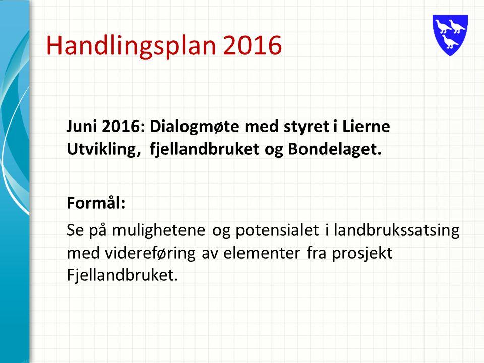 Handlingsplan 2016 Juni 2016: Dialogmøte med styret i Lierne Utvikling, fjellandbruket og Bondelaget.