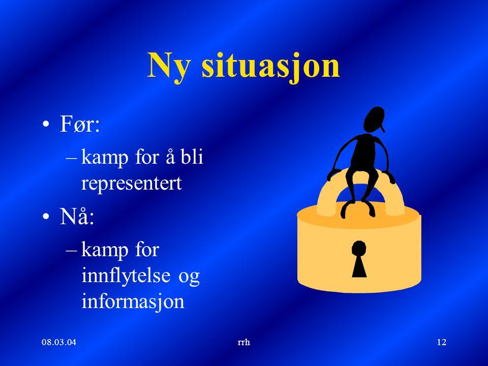 08.03.04rrh12 Ny situasjon Før: –kamp for å bli representert Nå: –kamp for innflytelse og informasjon