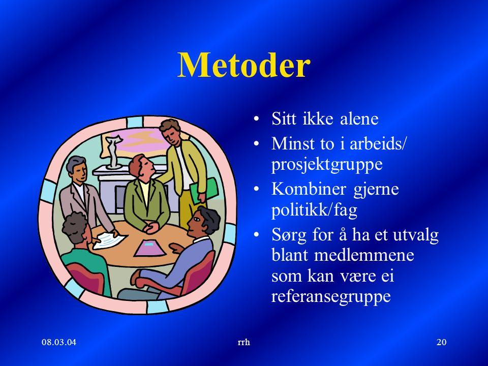 08.03.04rrh20 Metoder Sitt ikke alene Minst to i arbeids/ prosjektgruppe Kombiner gjerne politikk/fag Sørg for å ha et utvalg blant medlemmene som kan være ei referansegruppe