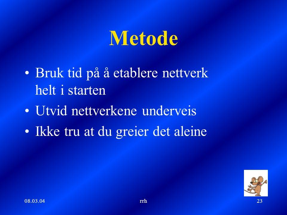 08.03.04rrh23 Metode Bruk tid på å etablere nettverk helt i starten Utvid nettverkene underveis Ikke tru at du greier det aleine