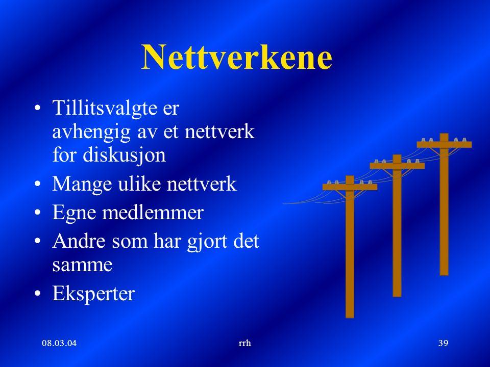 08.03.04rrh39 Nettverkene Tillitsvalgte er avhengig av et nettverk for diskusjon Mange ulike nettverk Egne medlemmer Andre som har gjort det samme Eksperter