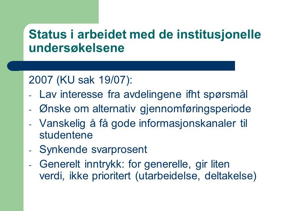 Status i arbeidet med de institusjonelle undersøkelsene 2007 (KU sak 19/07): - Lav interesse fra avdelingene ifht spørsmål - Ønske om alternativ gjennomføringsperiode - Vanskelig å få gode informasjonskanaler til studentene - Synkende svarprosent - Generelt inntrykk: for generelle, gir liten verdi, ikke prioritert (utarbeidelse, deltakelse)