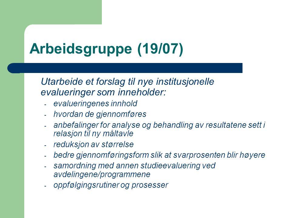 Arbeidsgruppe (19/07) Utarbeide et forslag til nye institusjonelle evalueringer som inneholder: - evalueringenes innhold - hvordan de gjennomføres - a