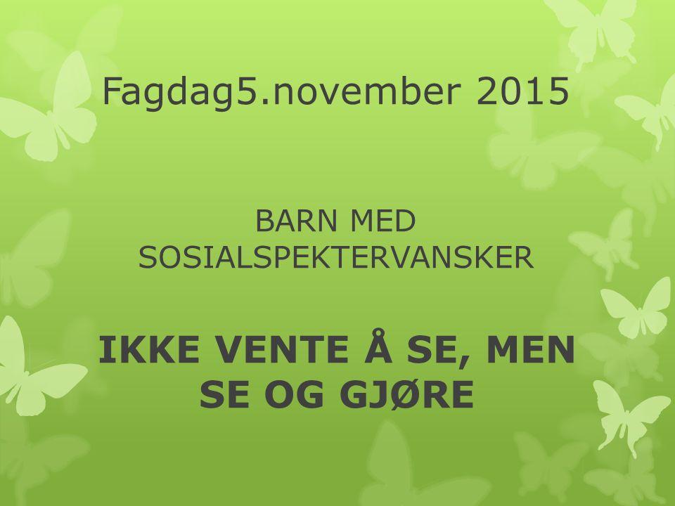 Fagdag5.november 2015 BARN MED SOSIALSPEKTERVANSKER IKKE VENTE Å SE, MEN SE OG GJØRE