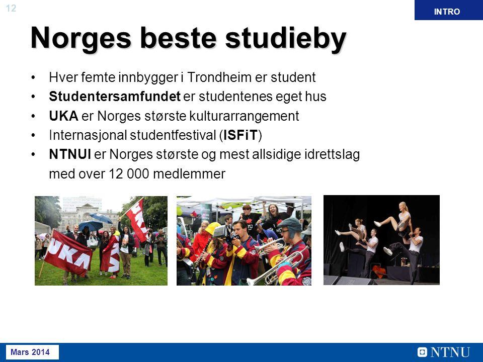 12 Mai 2013 April 2012 Norges beste studieby Hver femte innbygger i Trondheim er student Studentersamfundet er studentenes eget hus UKA er Norges største kulturarrangement Internasjonal studentfestival (ISFiT) NTNUI er Norges største og mest allsidige idrettslag med over 12 000 medlemmer INTRO Mars 2014