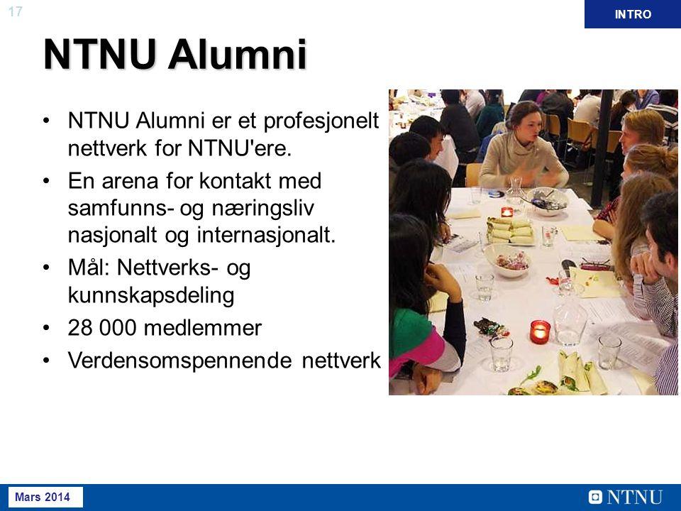 17 Mai 2013 NTNU Alumni NTNU Alumni er et profesjonelt nettverk for NTNU'ere. En arena for kontakt med samfunns- og næringsliv nasjonalt og internasjo