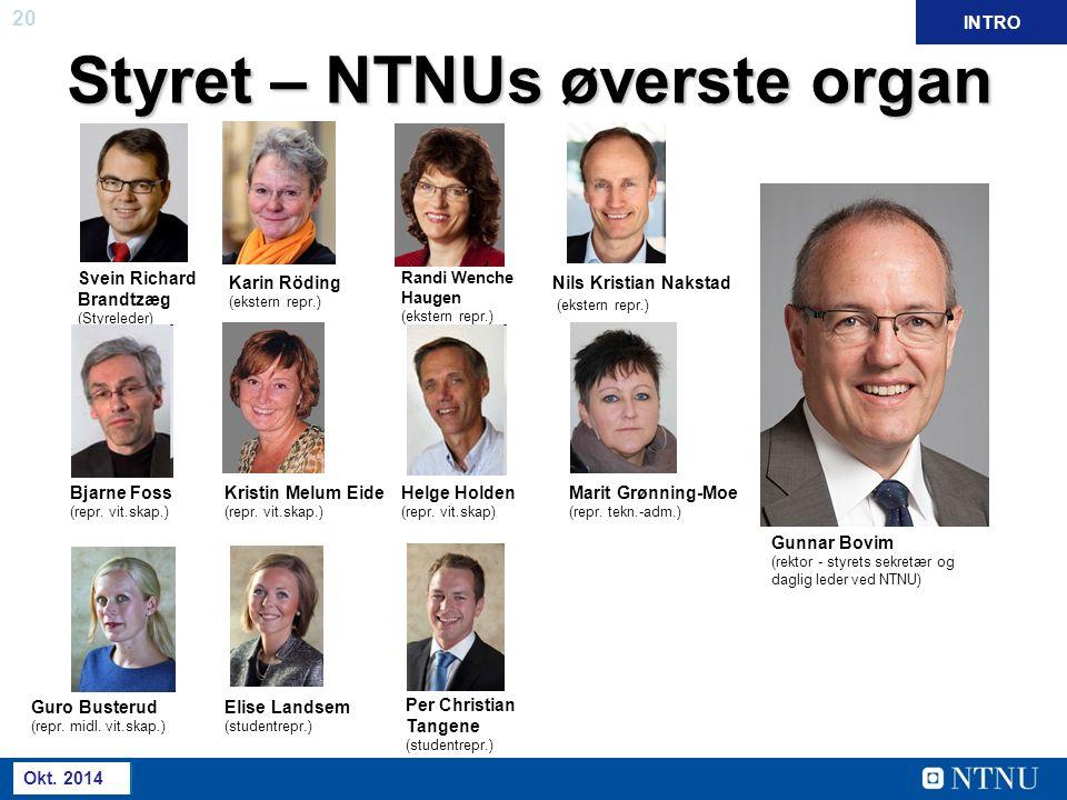 20 Mai 2013 Styret – NTNUs øverste organ Svein Richard Brandtzæg (Styreleder) Bjarne Foss (repr. vit.skap.) Guro Busterud (repr. midl. vit.skap.) Kari