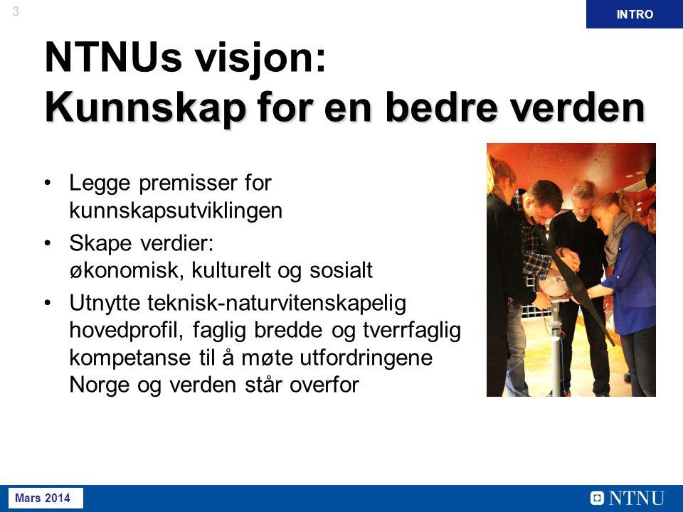 3 Mai 2013 April 2012 Kunnskap for en bedre verden NTNUs visjon: Kunnskap for en bedre verden Legge premisser for kunnskapsutviklingen Skape verdier: