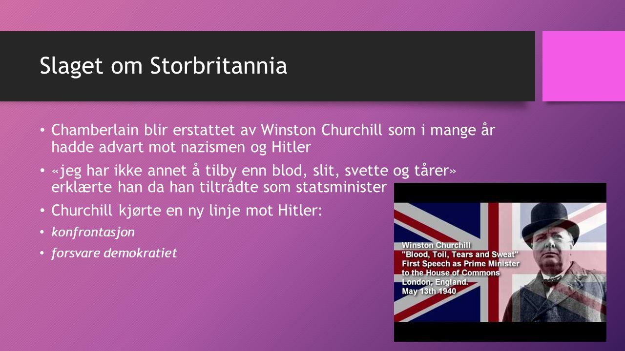 Slaget om Storbritannia Chamberlain blir erstattet av Winston Churchill som i mange år hadde advart mot nazismen og Hitler «jeg har ikke annet å tilby enn blod, slit, svette og tårer» erklærte han da han tiltrådte som statsminister Churchill kjørte en ny linje mot Hitler: konfrontasjon forsvare demokratiet