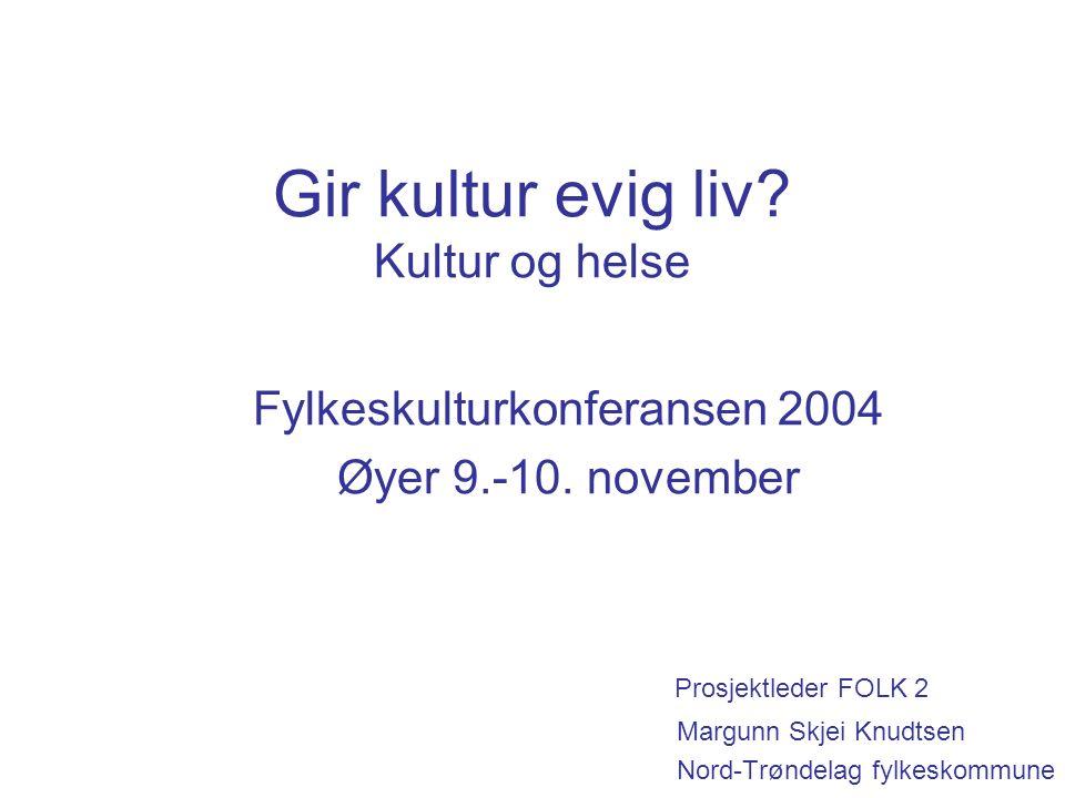 Gir kultur evig liv. Kultur og helse Fylkeskulturkonferansen 2004 Øyer 9.-10.