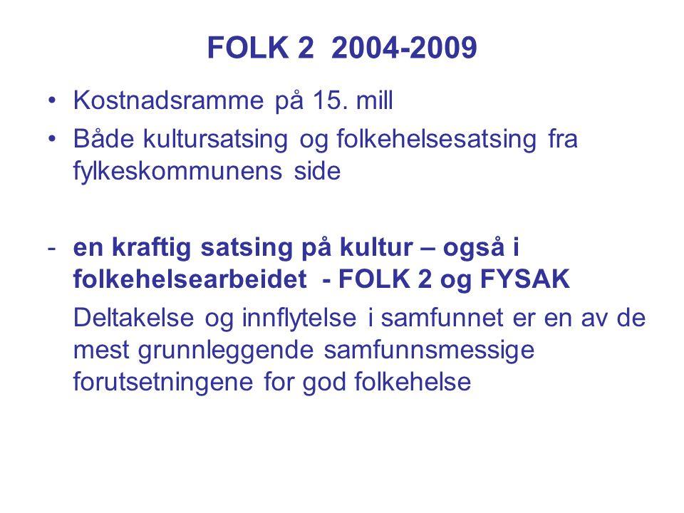 FOLK 2 2004-2009 Kostnadsramme på 15.
