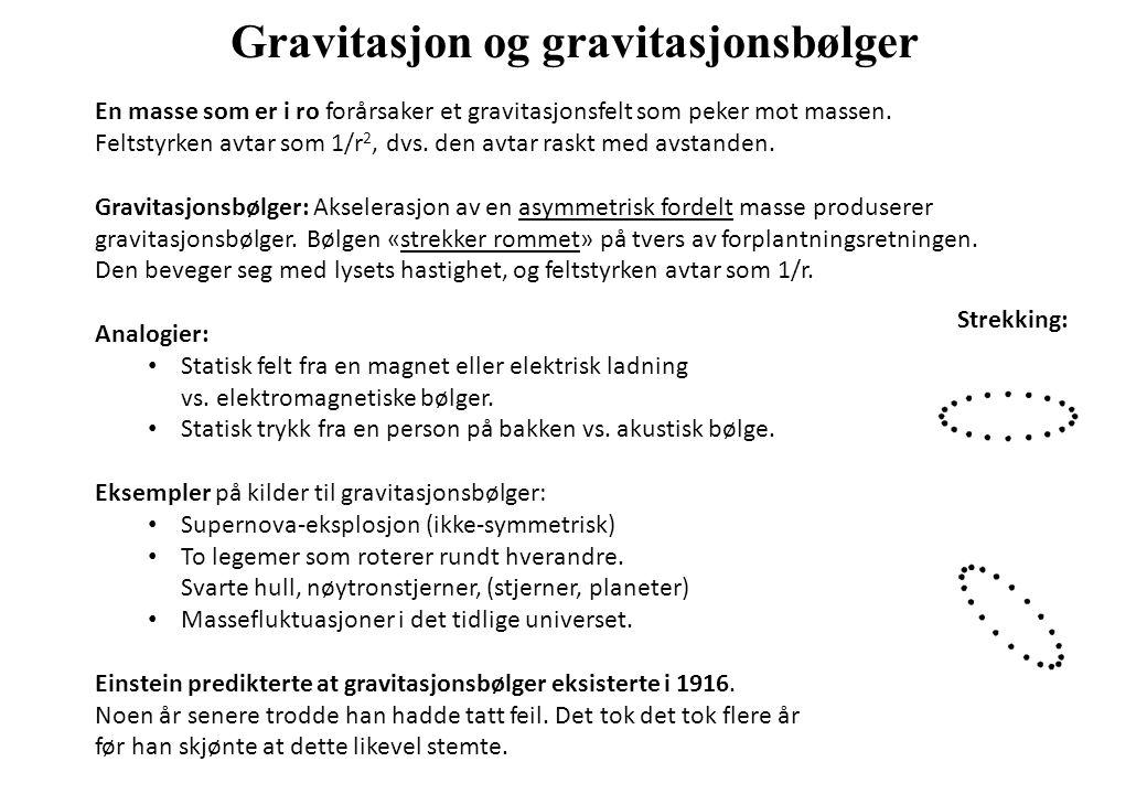 Gravitasjon og gravitasjonsbølger En masse som er i ro forårsaker et gravitasjonsfelt som peker mot massen. Feltstyrken avtar som 1/r 2, dvs. den avta