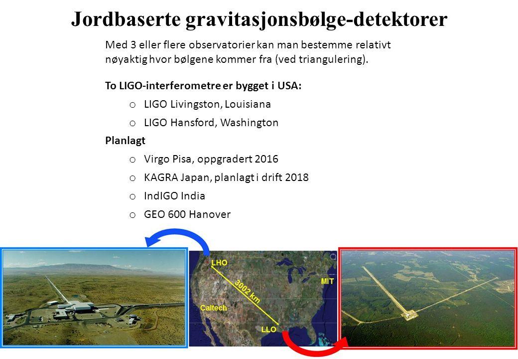 Jordbaserte gravitasjonsbølge-detektorer Med 3 eller flere observatorier kan man bestemme relativt nøyaktig hvor bølgene kommer fra (ved triangulering