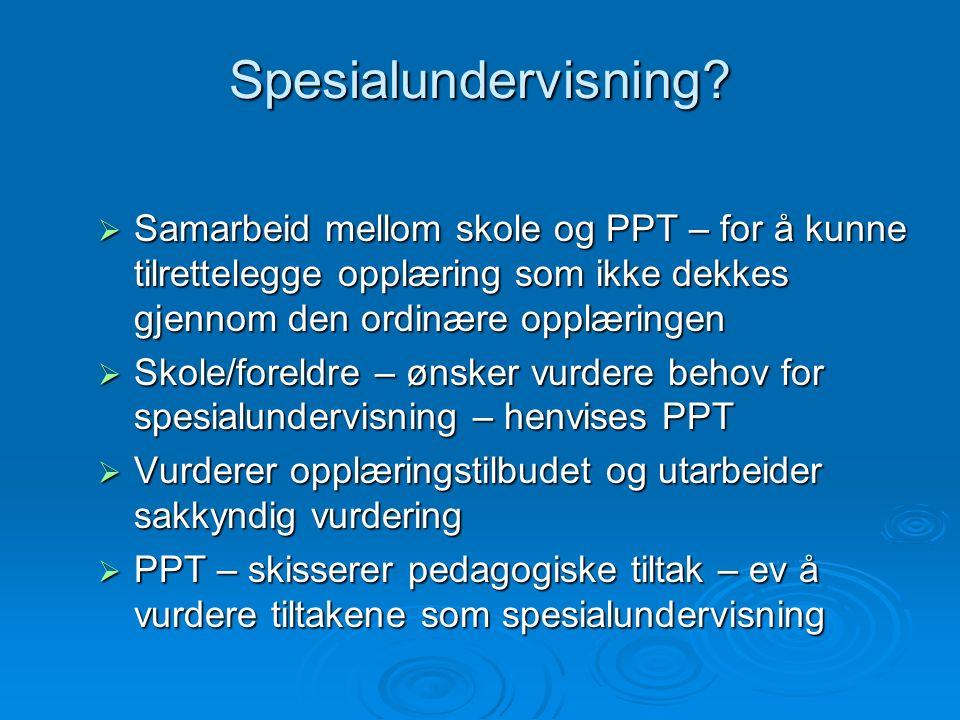 Spesialundervisning?  Samarbeid mellom skole og PPT – for å kunne tilrettelegge opplæring som ikke dekkes gjennom den ordinære opplæringen  Skole/fo