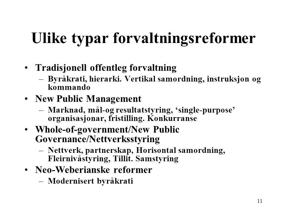 Ulike typar forvaltningsreformer Tradisjonell offentleg forvaltning –Byråkrati, hierarki. Vertikal samordning, instruksjon og kommando New Public Mana