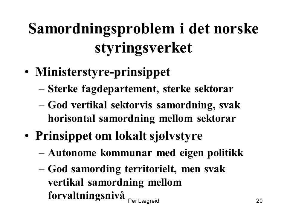 Per Lægreid20 Samordningsproblem i det norske styringsverket Ministerstyre-prinsippet –Sterke fagdepartement, sterke sektorar –God vertikal sektorvis