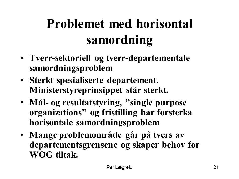 Per Lægreid21 Problemet med horisontal samordning Tverr-sektoriell og tverr-departementale samordningsproblem Sterkt spesialiserte departement. Minist