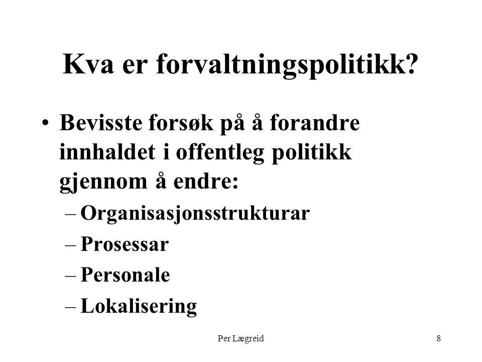 Per Lægreid39 Framtidsutsikter Lineær utvikling –Stadig meir NPM mot Supermarkedstaten .