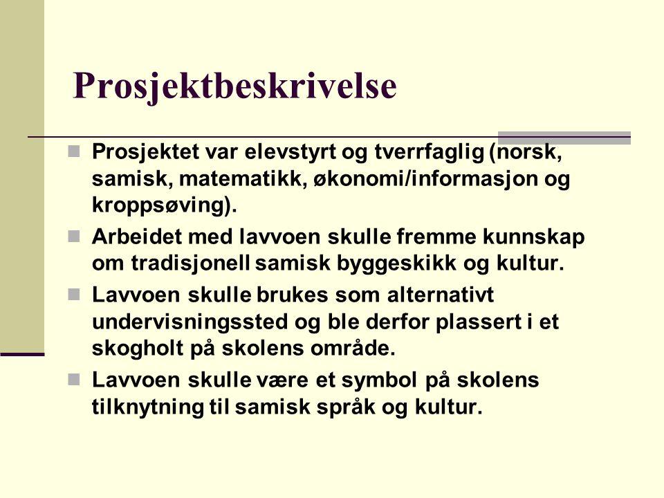 Prosjektbeskrivelse Prosjektet var elevstyrt og tverrfaglig (norsk, samisk, matematikk, økonomi/informasjon og kroppsøving). Arbeidet med lavvoen skul