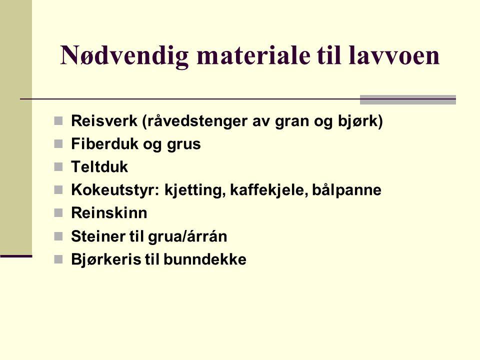 Nødvendig materiale til lavvoen Reisverk (råvedstenger av gran og bjørk) Fiberduk og grus Teltduk Kokeutstyr: kjetting, kaffekjele, bålpanne Reinskinn