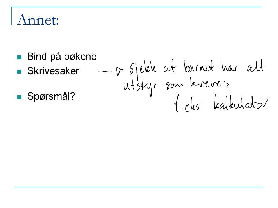 Annet: Bind på bøkene Skrivesaker Spørsmål
