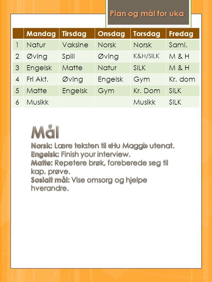 Plan og mål for uka MandagTirsdagOnsdagTorsdagFredag 1NaturVaksineNorsk Saml.