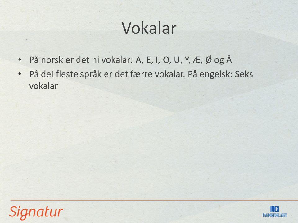 Vokalar På norsk er det ni vokalar: A, E, I, O, U, Y, Æ, Ø og Å På dei fleste språk er det færre vokalar.