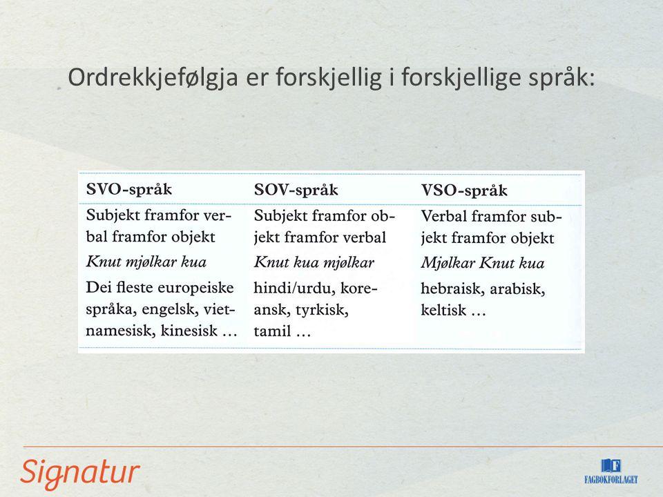 Ordrekkjefølgja er forskjellig i forskjellige språk: