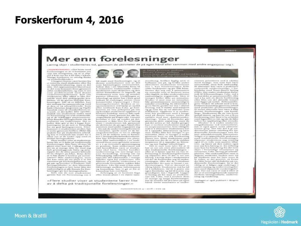 Moen & Brattli Forskerforum 4, 2016